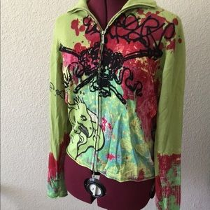 Raw7 Wearable Art Zip Up Cashmere Sweater